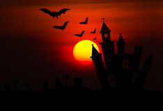 Castle silhouette in Halloween night Stock Photo