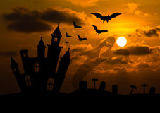 Castle silhouette in Halloween night Stock Image