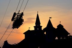 Castle silhouette. Here is a picture of a beautiful silhouette of the castle at wonderla, located at bangalore, india Stock Photos