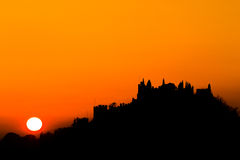 Castle silhouette at sundown Royalty Free Stock Photo