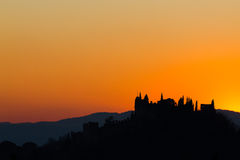 Castle silhouette at sundown Royalty Free Stock Images