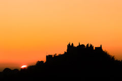 Castle silhouette at sundown Stock Photography