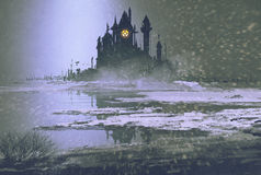 Castle silhouette in winter at night. Illustration painting Royalty Free Stock Photos