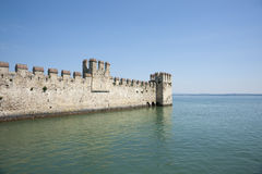 Castle Sirmione, defensive wall projects into lake. Stock Photo