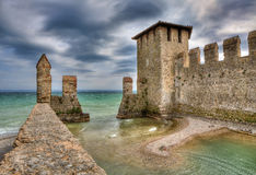 Castle of Sirmione, Italy. Medieval castle in town of Sirmione on Lake Garda in northern Italy Stock Photo