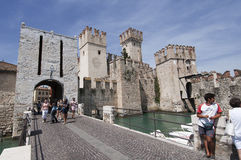 The castle of Sirmione on Lake Garda Stock Photo