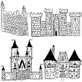 Castle sketches. Sketches of four different castle types over white background Royalty Free Stock Photos