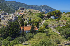 Castle of Skiathos island in Greece Stock Photos