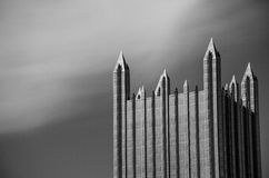 Castle in the Sky. Detail of the upper floors of PPG Place in the city of Pittsburgh, Pennsylvania in the United States rendered in monochrome Royalty Free Stock Photography