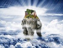 Castle in the sky. Fantasy illustration royalty free illustration