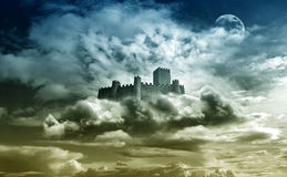 Castle in the sky. Castle over the clouds fantasy background Stock Photography