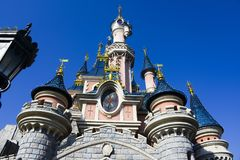 Castle of the Sleeping Beauty, in Disneyland Paris. PARIS, FRANCE - FEBRUARY 2016 - View of the famous Sleeping beauty castle in the park Disneyland Paris. A Stock Photography