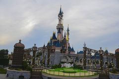 Castle of the Sleeping Beauty, in Disneyland Paris. PARIS, FRANCE - FEBRUARY 2016 - View of the famous Sleeping beauty castle in the park Disneyland Paris. A Stock Images
