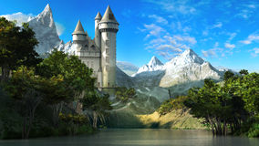 Castle on the slope of the mountains Royalty Free Stock Photo