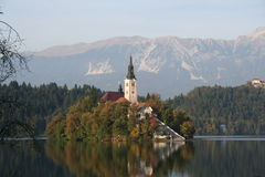 A castle in Slovenia. A castle in Lake Bled, Slovenia Royalty Free Stock Photography