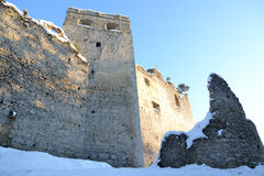 Castle. Small castle in Slovakia on the river bank royalty free stock photos