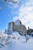 Castle in the snow Stock Images