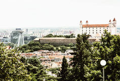 Castle and Snp bridge in Bratislava - the capital city of Slovak Stock Images