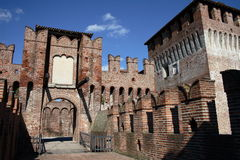 Castle soncino. The tower and drawbridge Royalty Free Stock Photos