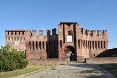 The Castle of Soncino - Cremona - Lombardy - Italy. View of the medieval castle of Soncino in the province of Cremona - Italy Royalty Free Stock Photo