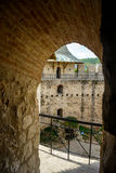 Castle in Soroca, Medieval Fortress. View from the window of medieval fort in Soroca, Moldova. Castle in Soroca, Medieval Fortress. Architectural details of Royalty Free Stock Photo