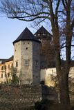 Czech castle Sovinec. In autumn season, view on two big towers royalty free stock photography