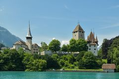 Castle Spiez on Thun lake stock photography