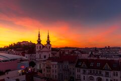 Free Castle Spilberk Brno City Slow Moving Clouds Captured Just From Castle Turn Public Light On Going From Blue Hour To Night Time Royalty Free Stock Photo - 186896515