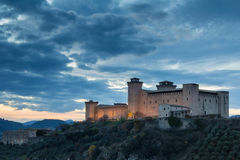 Castle of Spoleto at the sunset with clouds Stock Image
