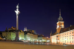 Castle Square. View at night in the old town, Warsaw, Poland Royalty Free Stock Images