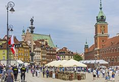 Castle Square in the center of Warsaw stock image