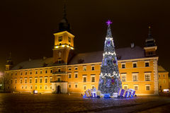 Castle square in the Christmas holidays Royalty Free Stock Photos