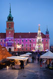 Castle Square at Christmas Time in the Old Town of Warsaw Stock Photos