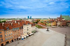 Castle square houses and column Stock Image