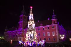 Castle Square at night with christmas tree in the old town, Warsaw, Poland Royalty Free Stock Photo