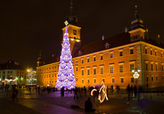 Castle Square  at night, Warsaw, Poland Stock Photos