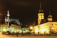 Castle Square at night. Warsaw. Poland stock photos