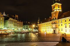 Castle Square at night. Warsaw. Poland stock images