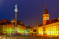 Castle Square at night in Warsaw, Poland. Stock Images
