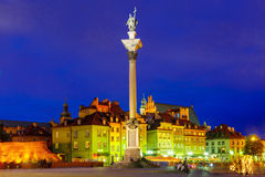 Castle Square at night in Warsaw, Poland. Royalty Free Stock Images