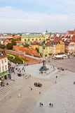 Castle Square in the old town of Warsaw, view from above. Stock Images
