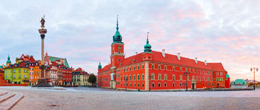 Castle square panorama in Warsaw, Poland royalty free stock photo