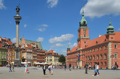 Castle Square, Sigismund's Column and Royal Castle in Warsaw, Poland Stock Photos
