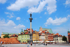 Castle Square with Sigismund`s Column in Warsaw Royalty Free Stock Photo