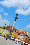Castle Square with Sigismund`s Column in Warsaw Stock Images