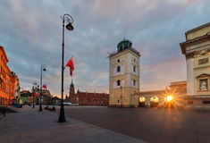 Castle square in the sunrise. Warsaw, Stock Image