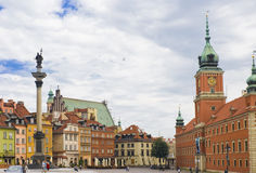 Castle Square, Warsaw. Warsaw's Castle Square is a historic square in front of the Royal Castle – the official residence of Polish monarchs Stock Image