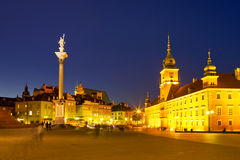 Castle Square in Warsaw, Poland at night Stock Photography