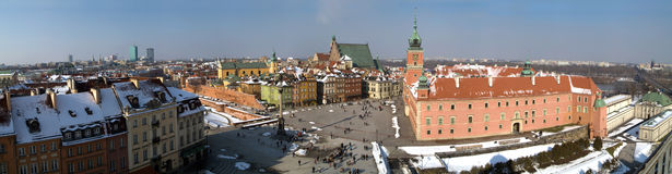Castle square in Warsaw, Poland. Panorama. The beautiful view to the historical square. Winter. Warsaw, Poland Stock Photography
