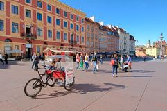 Castle square in Warsaw, Poland - sightseeing bike Royalty Free Stock Photography